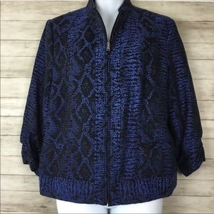Erin London 3/4 Sleeve Blue Snake Print Blazer